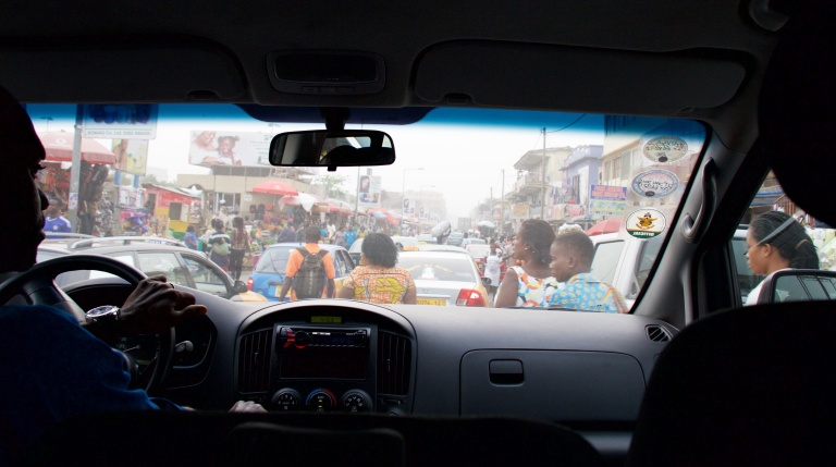 Driving into the Makola Market Madness, Accra