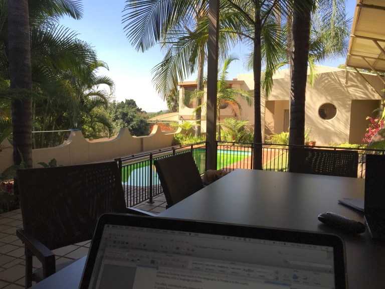 "Our view from the ""office"" today. If this is winter, we'll take it..."